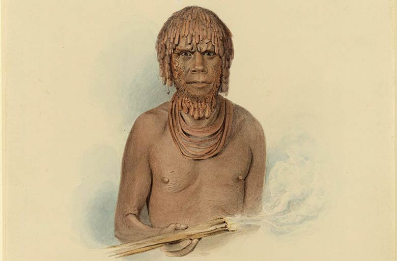 Drawing of Mannalargenna, an Aborginal Tasmanian warrior, painted in grease and ochre, holding a fire stick
