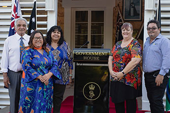Directors of Ironbark Aboriginal Corporation at Government House for the corporation's 20th anniversary
