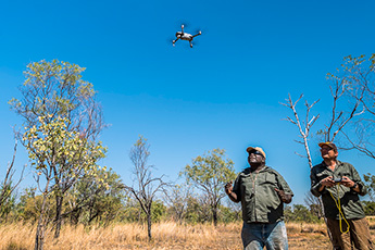 Two men standing under a bright blue sky looking up at a drone. One of them holds the controller