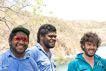 Dambimangari Aboriginal Corporation rangers with Australian Wildlife Conservancy Kimberley operations manager