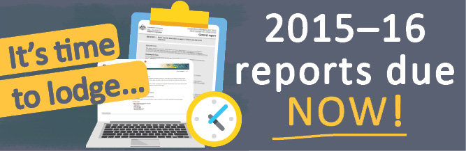 it's time to lodge your 2015–16 reports. Lodge online at https://online.oric.gov.au.