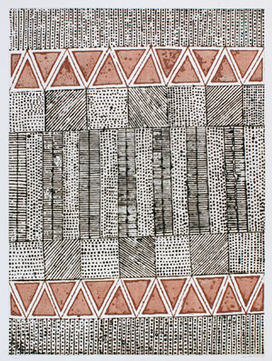 Artwork with rows of black lines and dots and brown-red triangles titled 'Jilamara' by Janice Murray