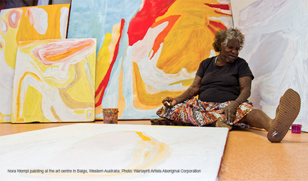Nora Wompi Painting at Warlayirti Art Centre, 2011