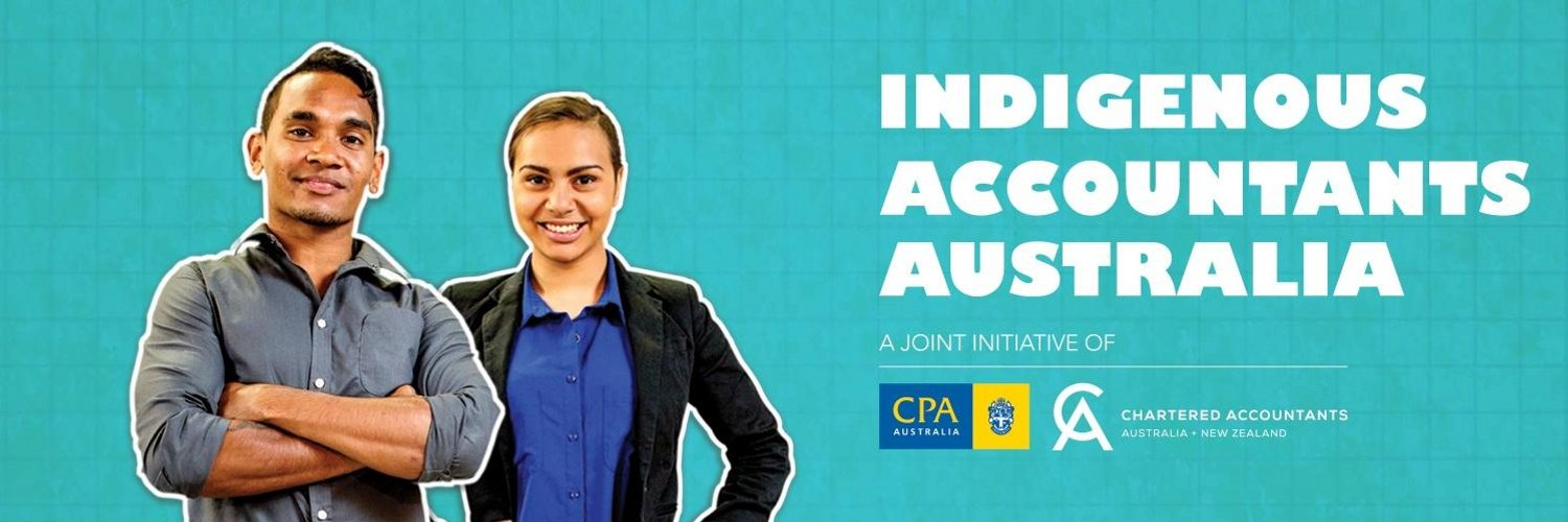 banner showing two young Indigenous accountants, promoting Indigenous Accountants Australia