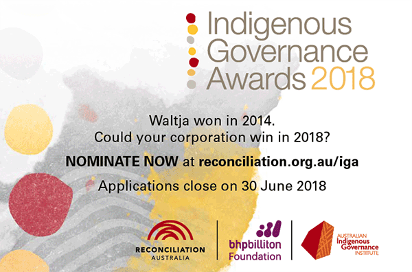 Graphic invitation to nominate a corporation for a 2018 Indigenous Governance Award