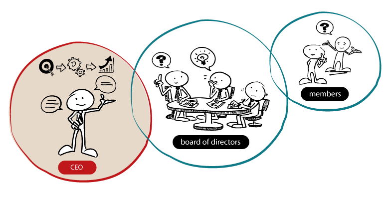 Illustration showing the flow of accountability from members through directors to the CEO