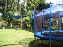 Play equipment for children in the garden of Mookai Rosie.