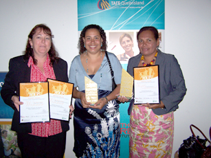 Receiving the State Ministers Award LtoR Amanda Ewart (CEO), Mary Yoelu (President), Harriet Sebasio (Program Manager)