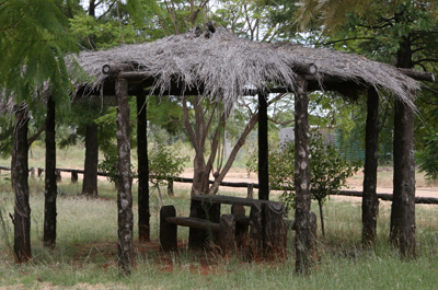 One of the meeting shelters in the grounds used for group discussions.