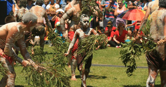 Corroberee – Biripi dancers at the 2011 Saltwater Freshwater Festival in Port Macquarie. Photo: Brett Dolsen
