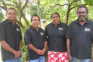 Members of the QRAM board (left to right) Aaron Teddy from Kowanyama, Neville Reys from NPA, Norlana Flinders from Wujal Wujal, and Bert Edwards from Pormpuraaw. Photo: Jim Remedio.