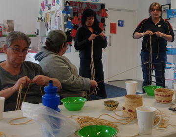Basket making. Residents and community members are encouraged to attend a variety of group activities run by the corporation.