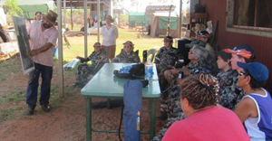 Chairman of Goojarr Goonyool Aboriginal Corporation, Andrew Bowles, speaks to a cadet navy group