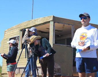 Volunteers at the look out at Two Moons Whale and Research Station