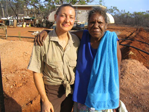 Volunteer with elder Lynette Mayne of the Nyull Nyull traditional owner native title group who is also Andrew Bowles' sister