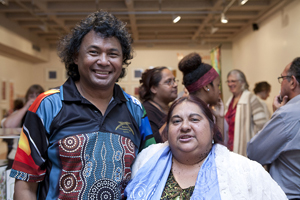 Photo: Thalep Ahmet with Yvonne Payne at the launch. Photo: Rockhampton Art Gallery