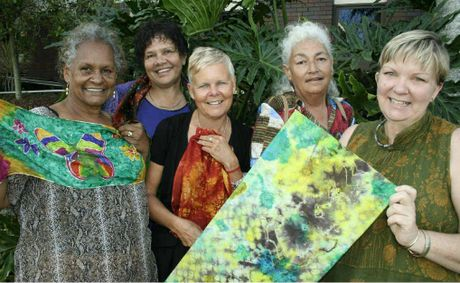 Photo: A few of the Murri Girls (from left to right) Elizabeth Doyle, Irene Williams, Julie Milner Barratt (curator of the exhibition), Beres Austin and Sue Kraatz. Photo: The Morning Bulletin