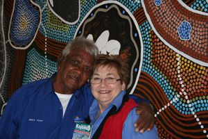 Partnership between Noongar and Wadjela (European). Elder and guide Jack Cox with manager Glenys Russell.
