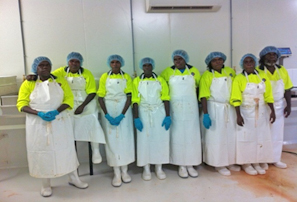 Photo: Class of 2013. The trainees have just completed a Certificate II in Food Processing. (From left to right): Mary Jane Bara, Molly Lalara, Janica Mamarika, Selena Maninyamanja, Reshilda Mamarika, Annette Jaragba, Josetta Jaragba and Archie Jaragba