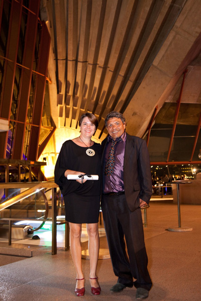 Djilpin Arts' artistic director Tom E Lewis with Tania Dennis from InsideOUT Architects at the award ceremony.