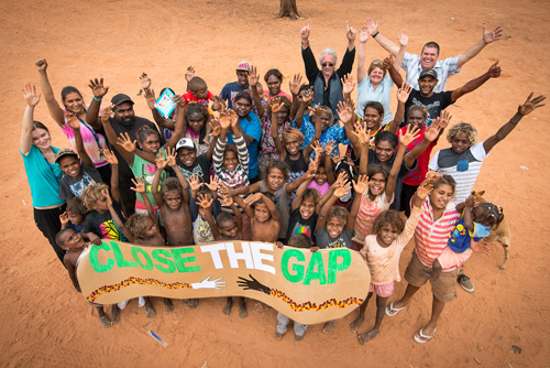 Photo of community people celebrating close the gap day