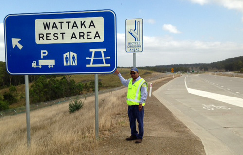 Wattaka Rest Area sign on Hunter Expressway