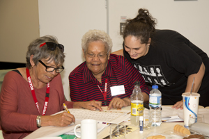 'Coota girls' Aunty Wilma Moran and Aunty Lorraine Peeters completing one of the corporate governance training activities with ORIC's Kerstin Styche.