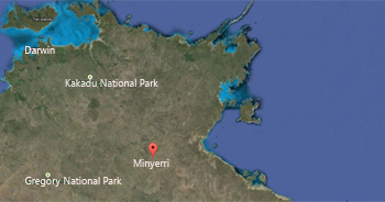 Map showing location of Minyerri, Northern Territory