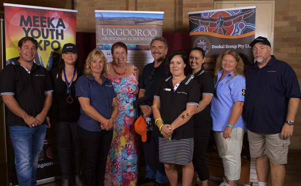 2015 MEEKA youth expo: staff and board members of UAC, with guest speaker, Dr Ernesto Sirolli (5th from L) and Taasha Layer, UAC general manager (4th from R). Photo: Ungooroo Aboriginal Corporation