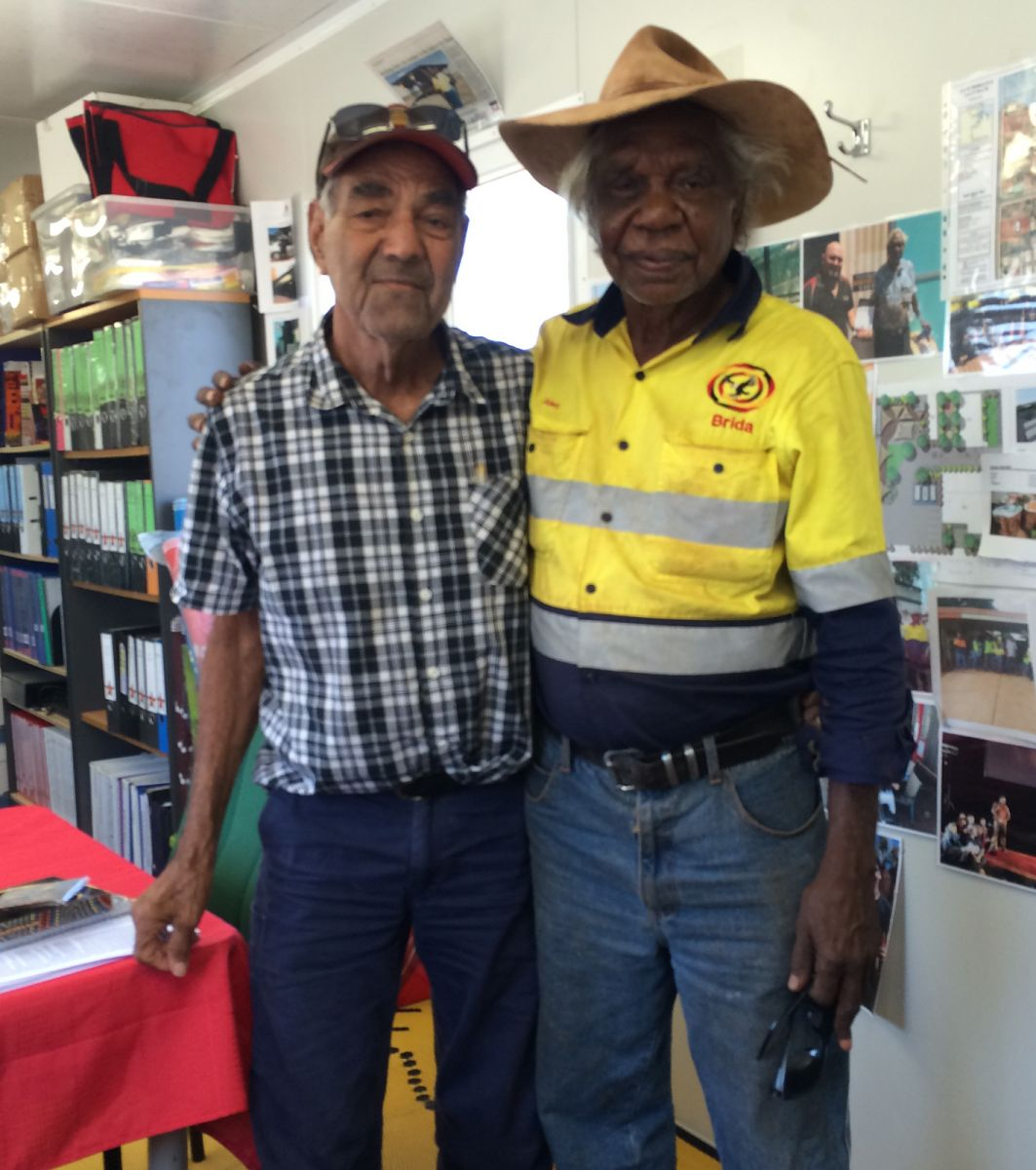 Directors: Ngarluma elder David Walker (left) with Banjima elder Alec Tucker at work at the NBAC Roebourne office.