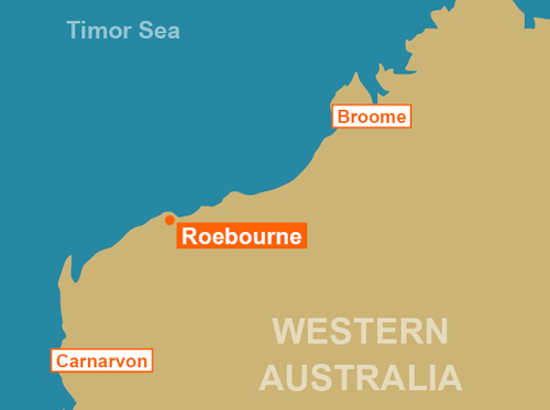 Map of Australia with city of Roebourne showing