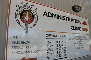 Sign of services and opening hours for OVAHS