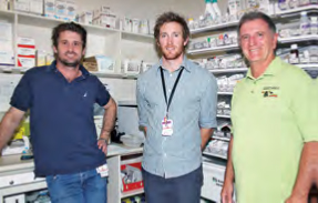 Dr Sam from the Tennant Creek Hospital, Pharmacist Will Rafferty and Trevor Sanders, General Manager of Anyinginyi