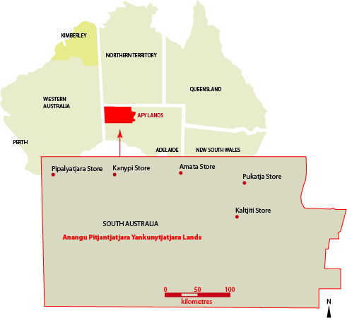 Map of the APY Lands showing the Mai Wiru stores