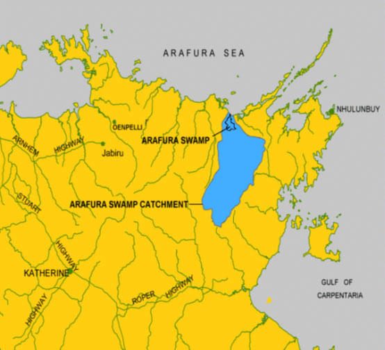 Map showing where Arafura swamp is in Katherine, Australia.