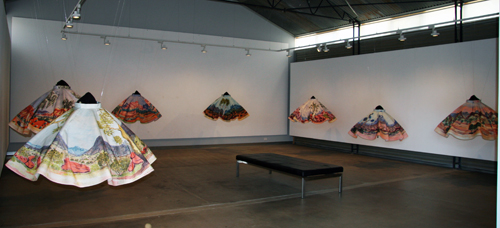 The exhibition of 1950s-style skirts on display at Raft Artspace, Alice Springs