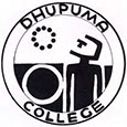 Black logo for Dhupuma College showing a figure looking up at a circle of bees