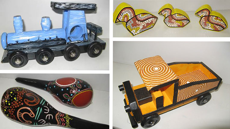 Toys made by former young Aboriginal detainees: truck, train, shakers and ducks