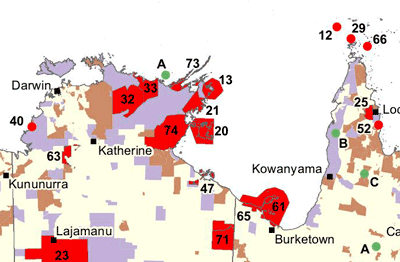 Detail from the Australian national map of Indigenous protected areas showing Dhimurru