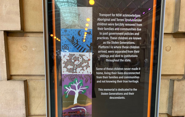 Stolen Generations memorial plaque at Sydney Central Station