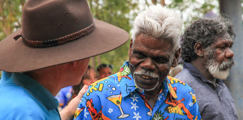Reggie Wurridjal, one of 10 directors of Mala'la board, Reggie Wurridjal, one of 10 directors of Mala'la board, is congratulated by a guest of the ceremony