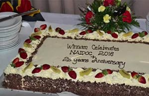 Cake celebrating 25 years of Winnam Aboriginal Corporation