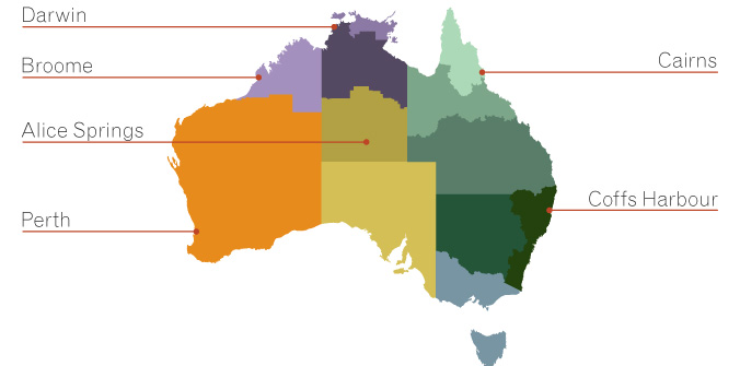 Map of Australia depicting the PM&C regional network and the ORIC regional office locations. Regions are coloured differently.