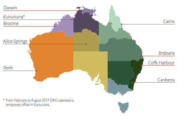 Map of Australia showing regional network areas and locations for each of the nine ORIC offices