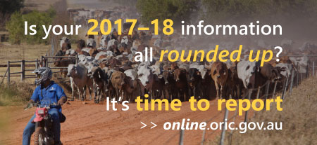 Photo of a stockman on a motorcycle, rounding up cattle. Text reads: is your 2017–18 information all rounded up? It's time to report—online.oric.gov.au