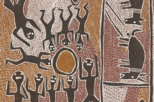 Detail from a bark painting of Ganbulapula, showing figures with their arms raised toward what might be the sun