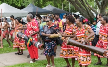Torres Strait drummers marching on Mabo Day 2019 in Cairns