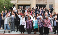 Crowd of Noongar celebrating on the steps of Western Australia's parliament